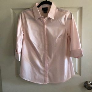 Pink elbow length button up blouse